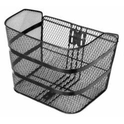 Velotech nagy méretű fém kosár előre, sűrű szövésű, fix rögzítésű, 38 x 28 x 28 cm, fekete