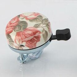 Acor ABE21501 ding-dong acél csengő, fehér, rózsa mintás