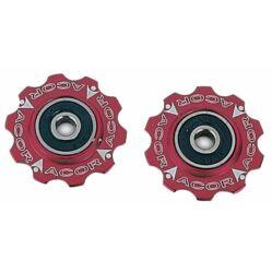 Acor ARO601 ipari csapágyas váltógörgő szett (alsó és felső), alumínium, piros