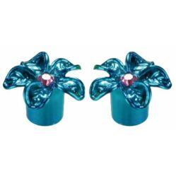 Acor AOS2801F virág mintás alumínium szelepsapka, autó szelepes, párban, kék