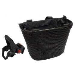Acor ABK21101gyorsrögzítős fém kosár bevásárló táskával kormányra, sűrű szövésű, fekete