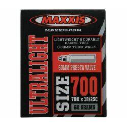 Maxxis Ultralight (0,6 mm) 622 x 18/25 (700C) országúti belső gumi FV60 (60 mm hosszú bontható szeleppel, presta), 59g