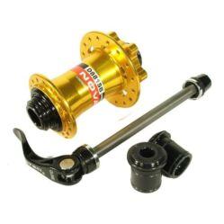Novatec D881SB MTB első kerékagy, 32H, átütőtengelyes (15 mm), tárcsafékes, ipari csapágyas, arany színű