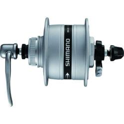 Shimano Nexus DH-3D37 agydinamó, 36H, gyorszáras, tárcsafékes (centerlock) 6V, 3W, ezüst színű,SM-DH10 túlfeszültség védelemmel