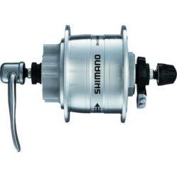 Shimano Nexus DH-3N31 agydinamó, 36H, gyorszáras, tárcsafékes (6 csavaros) 6V, 3W, ezüst színű,SM-DH10 túlfeszültség védelemmel