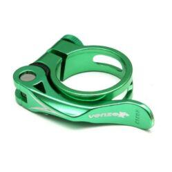 Venzo gyorszáras nyeregcső bilincs, zöld, 34,9 mm