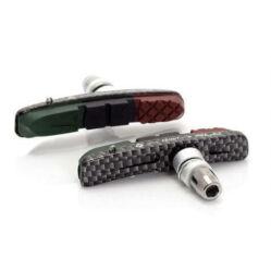 XLC BS-V10 cserélhető betétes menetes V-fék fékpofa, 72 mm, három zónás, két pár, karbon mintás