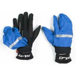 XLC CG-L10 hosszú ujjú téli kerékpáros kesztyű, fekete-kék, esőhuzattal, M-es