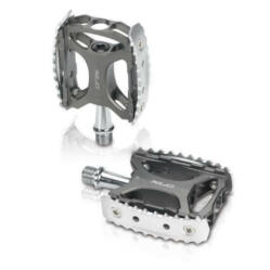 XLC PD-M17 alumínium platform pedál, ipari siklócsapágyas, szürke-ezüst