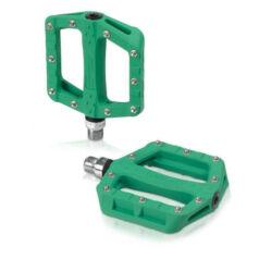 XLC PD-M19 ipari csapágyas műanyag platform pedál, cserélhető szegecsekkel, zöld
