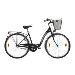 Gepida Reptila 100 acél 28-as női városi kerékpár, 3s (agyváltós), 45 cm, fekete