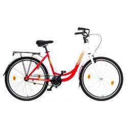 Hauser Swan 26-os női városi acél kerékpár, 1s, fehér-piros
