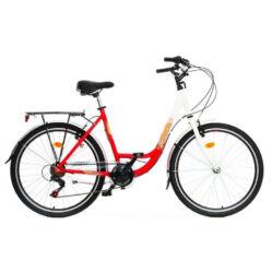 Hauser Swan 26-os női városi alumínium kerékpár, 6s, fehér-piros