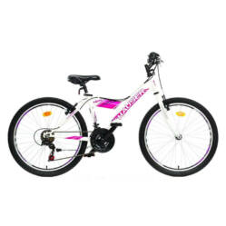 Hauser Viper 24-es junior kerékpár, 18s, acél, fehér - rózsaszín matrica