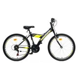 Hauser Viper 24-es junior kerékpár, 18s, acél, fekete-sárga