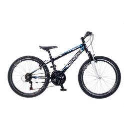 Neuzer Mistral 24-es junior MTB kerékpár, 18s, alumínium, fekete-fehér-cián