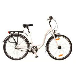 Neuzer Padova 26-os női városi kerékpár, alumínium, agyváltós (3s), agydinamós, 17-es, fehér-pink