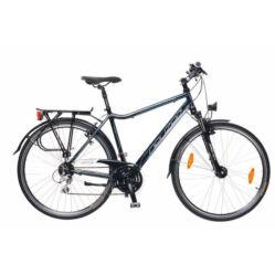 Neuzer Ravenna Alivio férfi 28-as  trekking kerékpár, 24s, alumínium,agydinamós, 19-es, fekete-cián