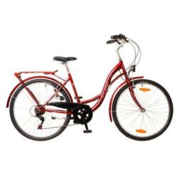 Neuzer Venezia 6 26-os női városi kerékpár, 6s, acél, 17-es, bordó-fehér-rózsaszín