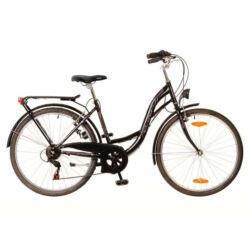 Neuzer Venezia 6 26-os női városi kerékpár, 6s, acél, 17-es, fekete-rózsaszín-fehér