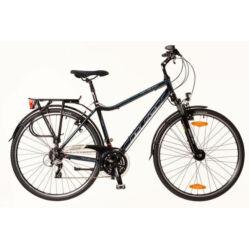 Neuzer Ravenna 200 férfi 28-as  trekking kerékpár, 24s, alumínium,agydinamós, 19-es, fekete-cián