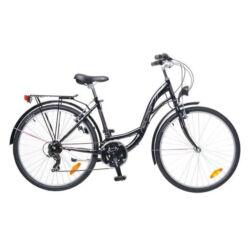 Neuzer Venezia 30 26-os női városi kerékpár, 21s, acél, 17-es, fekete-rózsaszín