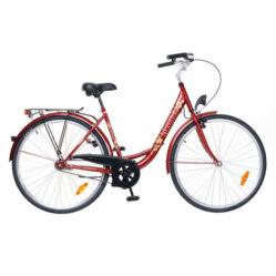 Neuzer Balaton 28-as acél női városi kerékpár, 3s, agyváltós, bordó, virágmintás