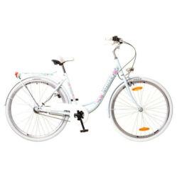 Neuzer Balaton Premium 28-as női városi kerékpár acél, agyváltós (3s), acél, 18-as, világoskék, virágmintás