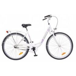 Neuzer Balaton 26-os női városi agyváltós kerékpár, acél, 3s, fehér, virágmintás
