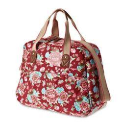 Basil Bloom Carry All egy részes táska csomagtartóra, 18L, virágmintás, piros