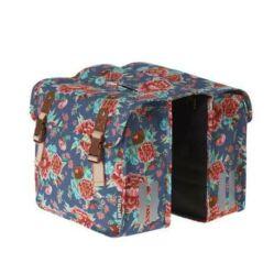 Basil Bloom Girls két részes táska csomagtartóra, 20L, kék, virágmintás