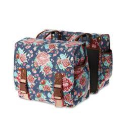 Basil Bloom két részes túratáska csomagtartóra, 35L, kék, virágmintás
