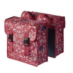 Basil Wanderlust két részes táska csomagtartóra, 35L, madár mintás, piros