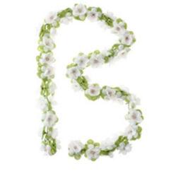 Basil Flower Garland virágfüzér dísz, 130 cm, fehér