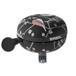 Basil Wanderlust acél retró csengő, 80 mm, fekete - madár mintás