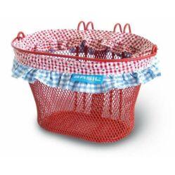 Basil Jasmin Farm-Basket Junior első kosár, sűrű szövésű, fém, 26x17x17 cm, piros