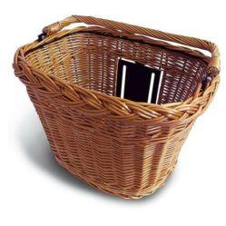 Basil Wicker kormányra rögzíthető fonott vesző első kosár, 34x25x27 cm, BasEasy gyorsrögzítés, natúr barna