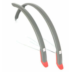 Simpla Ubiquit pálcás sárvédő szett 28 colos kerékpárokhoz, 46 mm, műanyag, szürke-piros