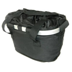 Velotech kormányra szerelhető, gyorsrögzítésű alu keretű szövet kosár, 33x23x25 cm, fekete