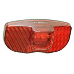Velotech dinamós 3 LED hátsó lámpa csomagtartóra, állófény funkcióval