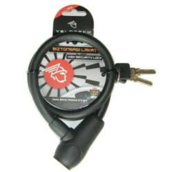 Velotech kulcsos sodronyzár 12 x 650 mm fekete