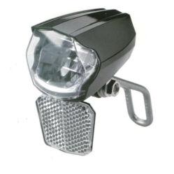 Velotech LED dinamós első lámpa, alkonykapcsolóval, állófénnyel, levehető prizmával, 70 lumen