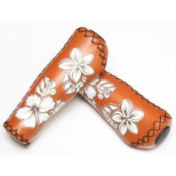 Velo ergonomikus bőr markolat, 135 mm, virágmintás, barna