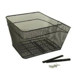Neuzer fém kosár hátsó csomagtartóra, 38x30x25 cm, sűrű szövésű, fekete