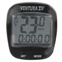 Ventura XIV vezetékes kerékpár komputer, 14 funkciós, 2 soros kijelzővel, fekete