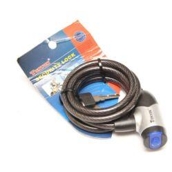 Tonyon kulcsos sodronyzár, 150 cm x 8 mm, porvédős, füst színű