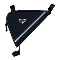 Longus kis méretű háromszög váztáska, fekete, fényvisszaverő csíkkal