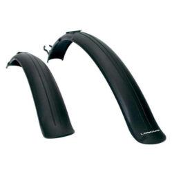 Longus felpattintható műanyag sárvédő szett, 24-26 colos kerékpárokhoz, hosszú láncvillához, fekete
