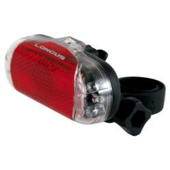 Longus nyeregcsőre rögzíthető elemes hátsó lámpa, 6 LED-es, prizmáva, elemekkel