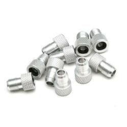 Szelepátalakító adapter dunlop vagy presta szelepről autósra (FV - DV - AV), gumigyűrűs, alu